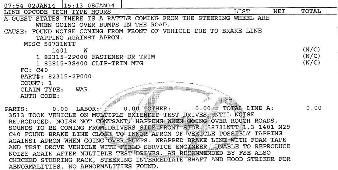 2013 Steering column rattle | Hyundai Forums