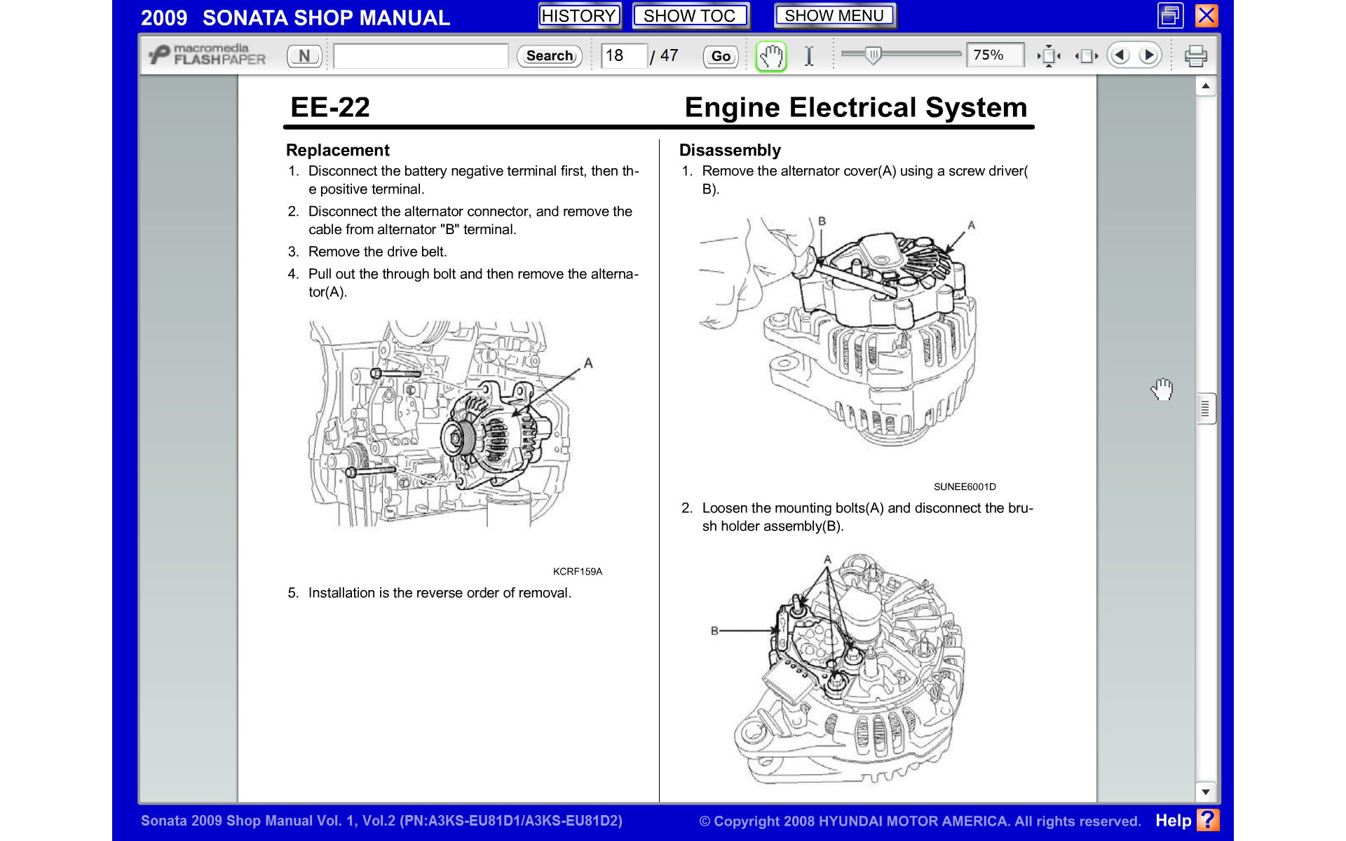 Replace Alternator 2009 Sonata Hyundai Forums